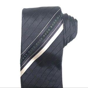 Hugo Boss Midnight Blue Skinny Logo Stripe Tie